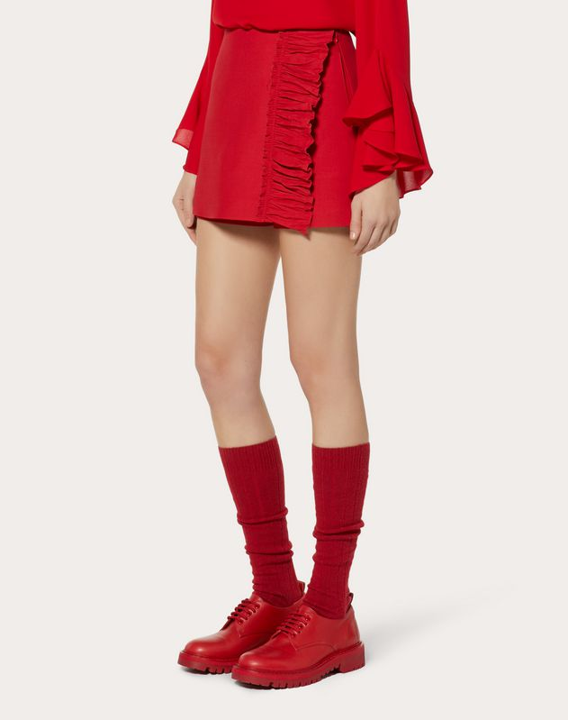 CREPE COUTURE MINI SKORT WITH RUFFLES