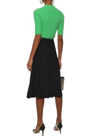 MUGLER Zip-detailed pleated cloqué skirt