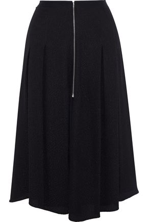 MUGLER Zip-detailed pleated cloqué skirt