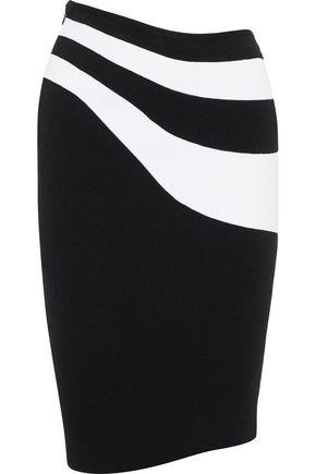 MUGLER Asymmetric intarsia-knit pencil skirt