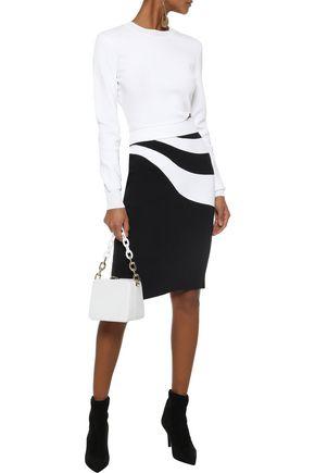 MUGLER Asymmetric intarsia-knit pencil skirt