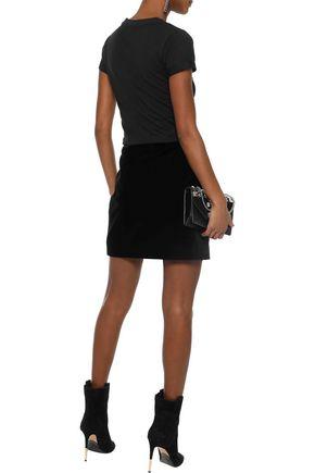 MUGLER Zip-detailed cotton-velvet mini pencil skirt