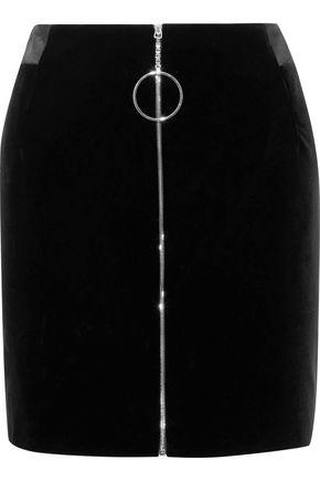 MUGLER Zip-detailed satin-trimmed cotton-velvet mini skirt