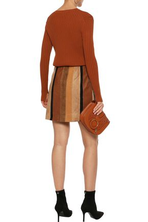 ADAM LIPPES Wrap-effect suede, snake-effect and smooth leather mini skirt