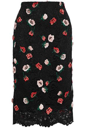 LELA ROSE Embroidered corded lace pencil skirt