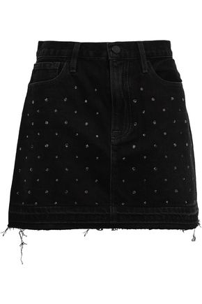 FRAME Crystal-embellished denim mini skirt