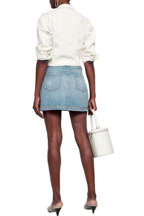 FRAME Studded faded denim mini skirt