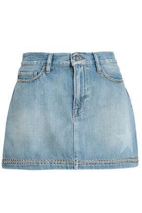 FRAME Studded faded denim mini skirt