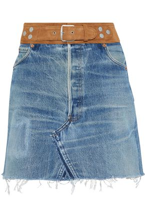 RE/DONE by LEVI'S Suede-trimmed faded denim mini skirt