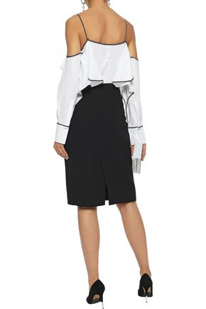 MUGLER Bead-embellished cady pencil skirt