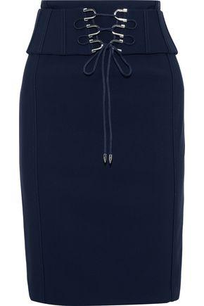 MUGLER Lace-up crepe skirt