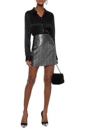 MUGLER Metallic jacquard mini pencil skirt
