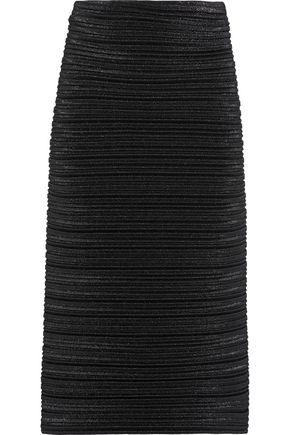 MUGLER Ribbed lamé midi skirt