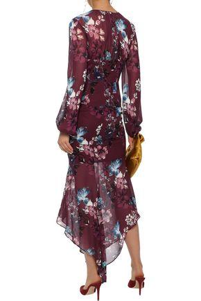 NICHOLAS Ruched floral-print silk-chiffon midi skirt