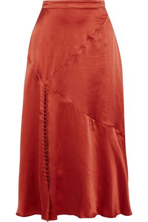 NICHOLAS Fluted silk-charmeuse midi skirt