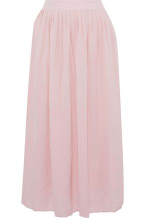 ANINE BING Pleated silk crepe de chine midi skirt