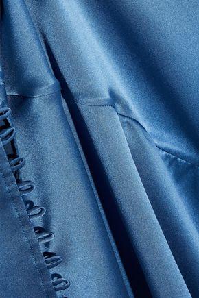 NICHOLAS Fluted silk-charmeuse midi skirt