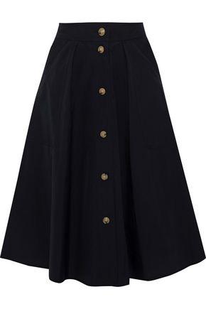 VINCE. Flared button-detailed cotton-poplin skirt