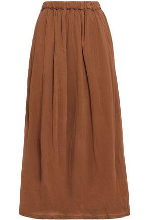 AMERICAN VINTAGE Gathered crinkled cotton-gauze midi skirt