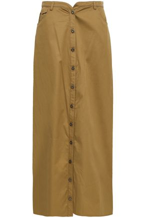 ROSIE ASSOULIN Button-detailed cotton-twill maxi skirt