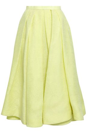 ROSIE ASSOULIN Pleated silk-jacquard midi skirt