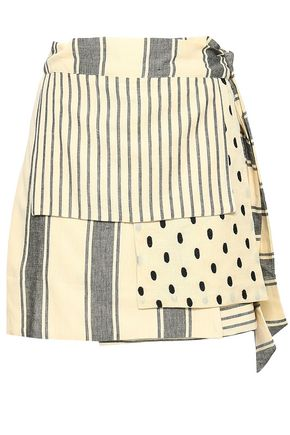 DODO BAR OR Patchwork-effect printed cotton-gauze mini wrap skirt