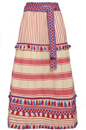 DODO BAR OR Gael tassel-trimmed striped cotton-gauze midi skirt