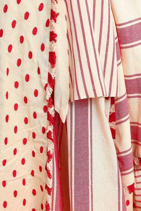 DODO BAR OR Layered embroidered striped cotton-gauze midi skirt