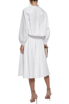 KHAITE Alexa pleated cotton-twill midi skirt