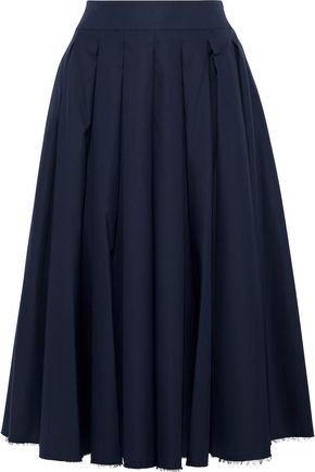 KHAITE Alexa pleated cotton-twill midi skirt