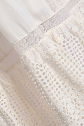 ZIMMERMANN Laelia broderie anglaise-paneled cotton midi skirt