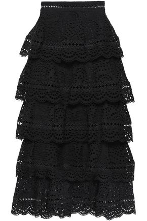 ZIMMERMANN Tali tiered broderie anglaise cotton midi skirt