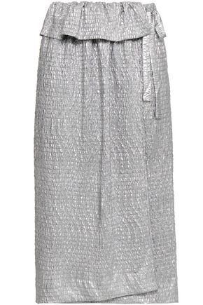 ANTIK BATIK Metallic coated crinkled-woven midi wrap skirt