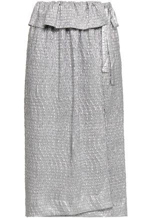 ANTIK BATIK メタリック コーティングしわ加工織地 ミディラップスカート
