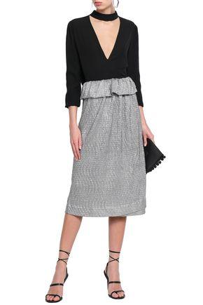 ANTIK BATIK Metallic coated crinkled-woven midi wrap skirt