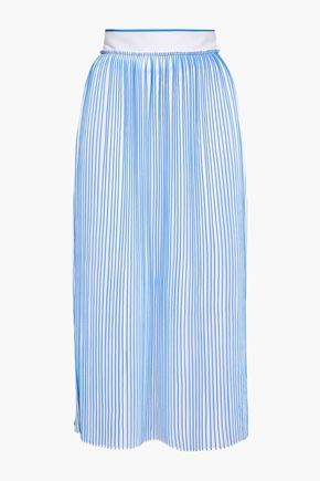 VICTORIA, VICTORIA BECKHAM Pleated striped crepe de chine midi skirt