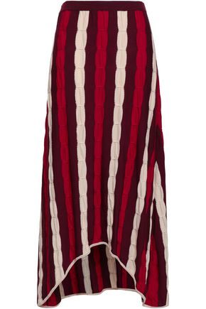 MARNI Striped crochet-knit wool midi skirt