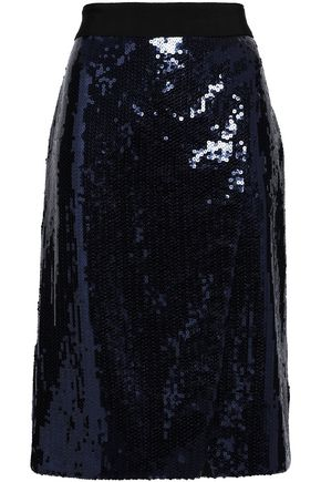 VICTORIA, VICTORIA BECKHAM Wrap-effect sequined skirt