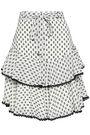 LOVER Tiered linen fil coupé mini skirt
