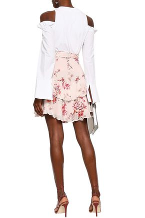 LOVER Tiered floral-print georgette mini skirt