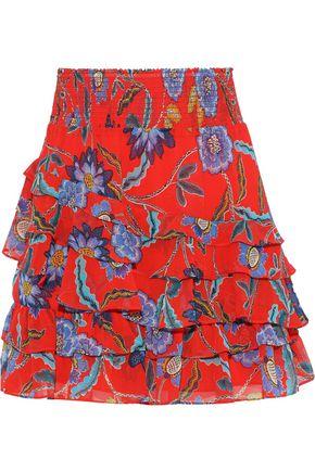 REBECCA MINKOFF | Rebecca Minkoff Lila Tiered Floral-Print Crepe De Chine Mini Skirt | Goxip