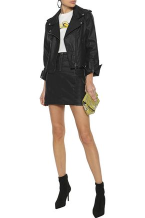REBECCA MINKOFF Emery zip-detailed coated-denim mini skirt