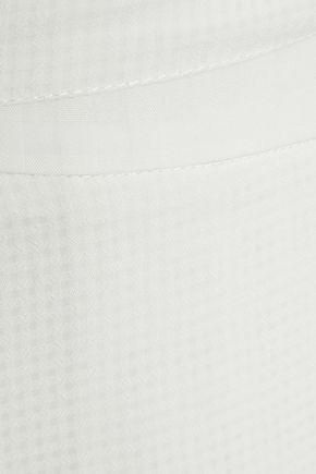 IRIS & INK Arabella wrap-effect burnout poplin midi skirt