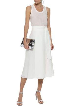 IRIS & INK Arabella wrap-effect burnout poplin midi skirt