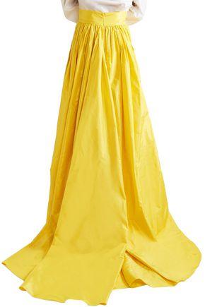 CAROLINA HERRERA Pleated silk-taffeta maxi skirt