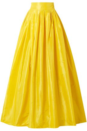 CAROLINA HERRERA Pleated silk-taffeta maxi skirt