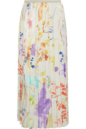 AGNONA Pleated floral-print satin-twill midi skirt