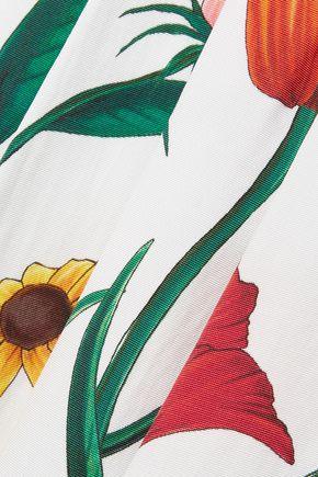 CAROLINA HERRERA Pleated floral-print cotton-blend midi skirt