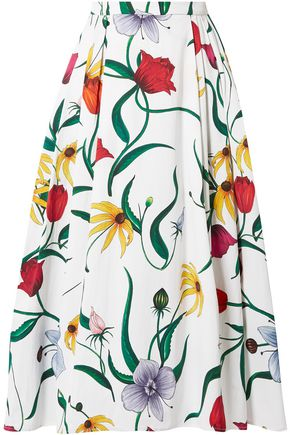CAROLINA HERRERA Pleated floral-print cotton-blend midi skirt