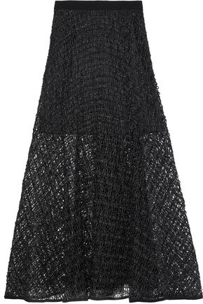 MILLY Macramé raffia maxi skirt